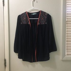 Navy Blue Embroidered Cardigan